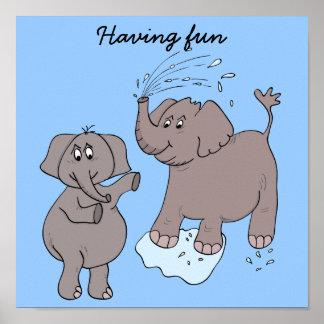 """Elefantes engraçados dos """"desenhos animados"""" do PO Poster"""