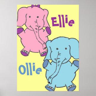 Elefantes rosa e azul posteres