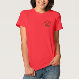 Elegância da poinsétia camiseta polo bordada feminina