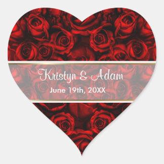 Elegância da rosa vermelha - personalize adesivo de coração
