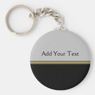 Elegância do monograma no ouro cinzento preto chaveiros