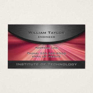 Elegância metálica magenta com código de QR Cartão De Visitas