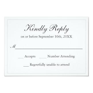 Elegância simples clássica que Wedding RSVP Convite 8.89 X 12.7cm