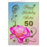 Elegante aumentou o 50th cartão de aniversário par