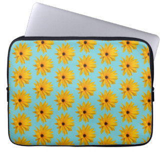 elegante azul, sacola amarela do vintage do capa de notebook