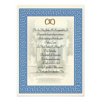 Cartão Elegante chave azul do convite grego do casamento