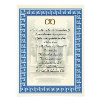 Elegante chave azul do convite grego do casamento