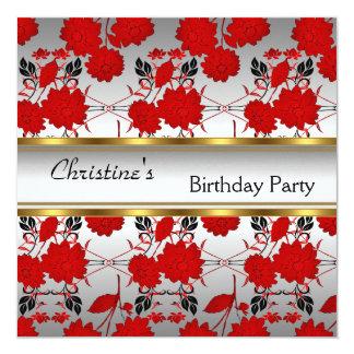 Elegante convide floral branco vermelho do ouro do convites personalizado