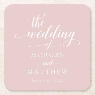 Elegante cora & o casamento branco da caligrafia porta-copo de papel quadrado