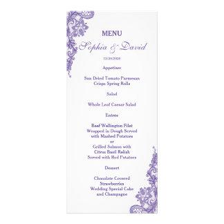 Elegante cora o menu floral do casamento do quadro