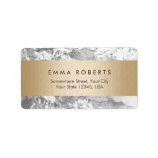 Elegante listrado do ouro de pedra de mármore etiqueta de endereço