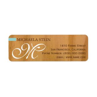 elegante & monogrammed, madeira etiqueta endereço de retorno
