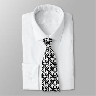 Elegante preto e branco da flor de lis gravata