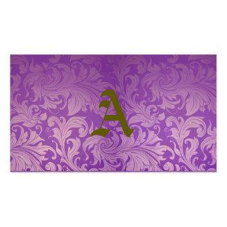 elegante, roxo, vintage, floral, damasco, bonito cartão de visita