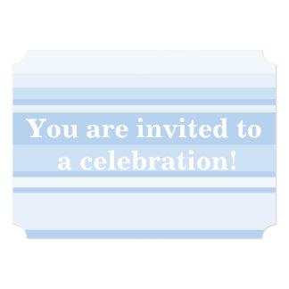 Elegante simples das listras de azuis bebés convite 12.7 x 17.78cm