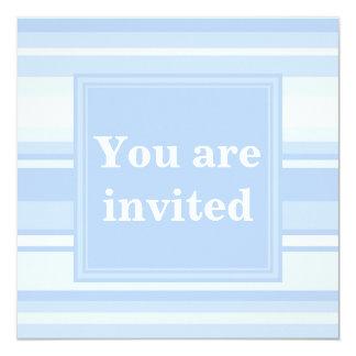 Elegante simples das listras de azuis bebés convite quadrado 13.35 x 13.35cm