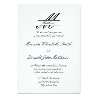 Elegante simples formal - convite do casamento 3x5