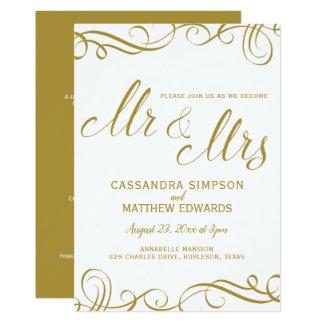 Elegante tudo em um ouro Wedding dos convites  