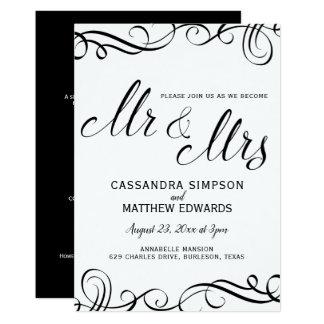 Elegante tudo em um preto Wedding dos convites  