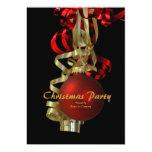 Elegante vermelho do ouro da festa natalícia do convite personalizados