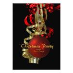 Elegante vermelho do ouro da festa natalícia do Na Convite Personalizados