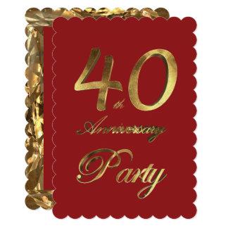 Elegante vermelho do ouro do aniversário do convite 12.7 x 17.78cm