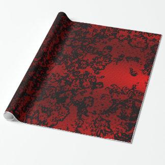Elegante vibrante floral à moda preto vermelho do papel de presente