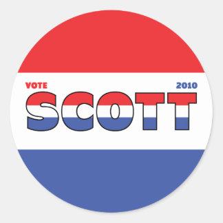 Eleições branco de Scott 2010 do voto e azul Adesivos Em Formato Redondos