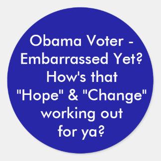 Eleitor de Obama - embaraçado ainda? Como é que a Adesivos Em Formato Redondos