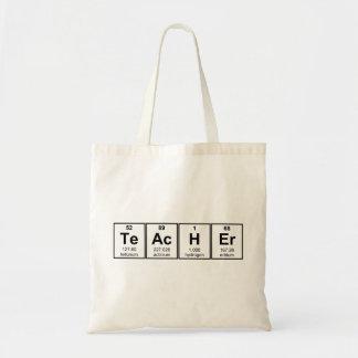 Elementos químicos do professor de ciências sacola tote budget