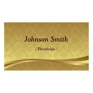 Eletricista - damasco elegante do ouro cartão de visita