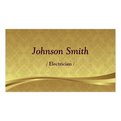 Eletricista - damasco elegante do ouro modelo cartão de visita