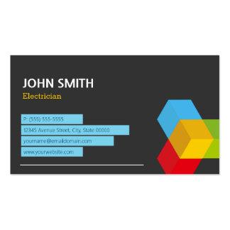Eletricista - logotipo abstrato do cubo cartão de visita