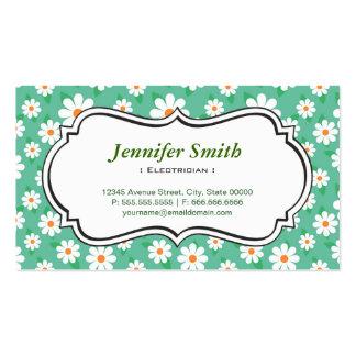 Eletricista - margarida verde elegante cartão de visita