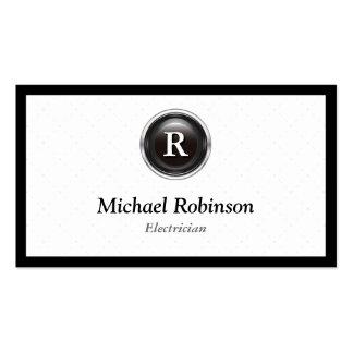 Eletricista - monograma à moda simples cartão de visita