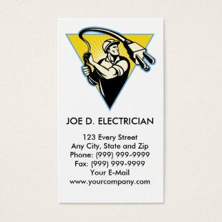Eletricista ou lineman do poder que guardara a cartão de visitas