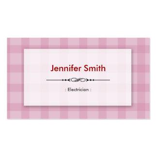 Eletricista - quadrados cor-de-rosa bonito cartão de visita