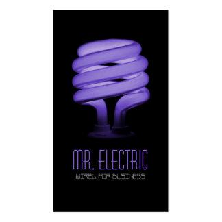 Elétrico, eletricista, ampola da eletricidade modelo cartoes de visita
