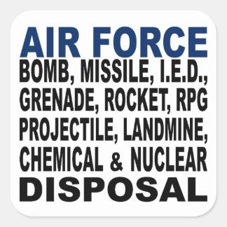 Eliminação da bomba etc da força aérea adesivo em forma quadrada