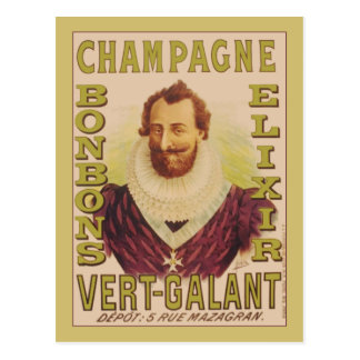 Elixir dos bombons de Champagne Cartoes Postais