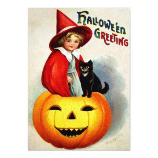 Ellen H. Clapsaddle: Bruxa em Jack O'Lantern Convite 12.7 X 17.78cm