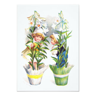Ellen H. Clapsaddle: Crianças de flor da páscoa Convites Personalizados