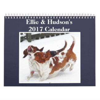 Ellie & calendário 2017 bonito de Hudson Basset