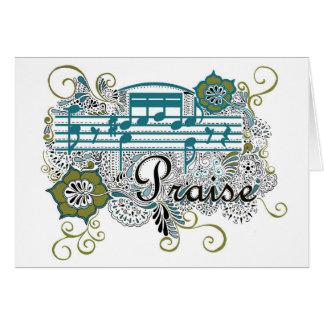 Elogio com notas musicais cartão