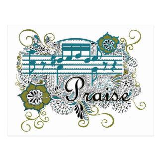 Elogio com notas musicais cartão postal