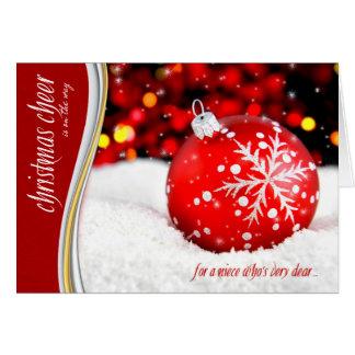 Elogio do Natal da sobrinha - ornamento vermelho Cartão Comemorativo