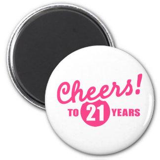 Elogios a 21 anos de aniversário imã de geladeira