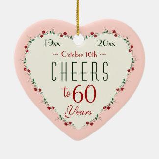 Elogios aos 60th presentes do Natal do aniversário Ornamento De Cerâmica Coração