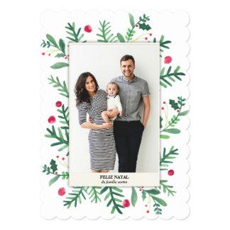 Em Aquarela | Feliz de Pintura natal Convite 12.7 X 17.78cm