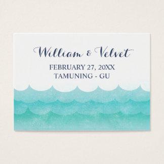 Em cartões náuticos do lugar do casamento do mar